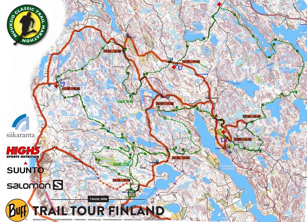 Kansallispuiston alueella juoksua seurattaessa  pyöräily on sallittua vain punaisella merkityillä reiteillä. (pisteviiva = talutus)